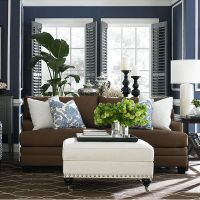 Navy brown white grey living room