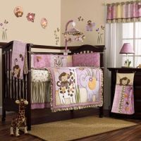 Pink and Purple Jungle Safari Animals Baby Girl 8PC Crib