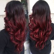 dark brown red ombre beauty