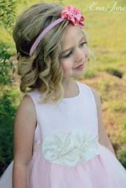 cute flower girl hair and headband