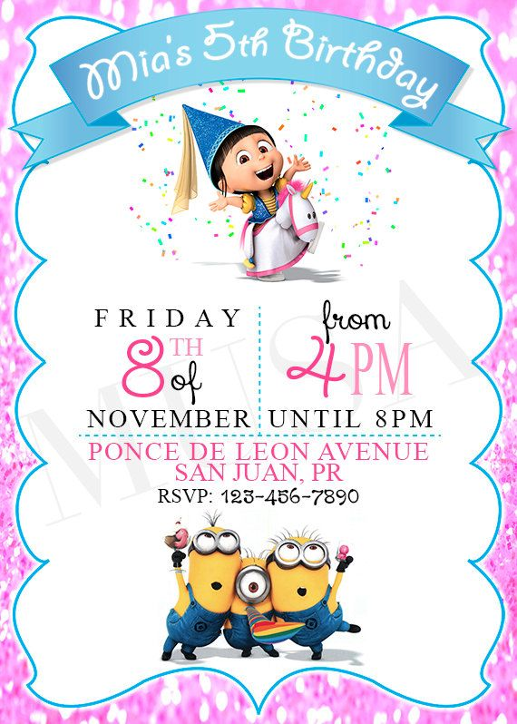 Despicable Me Minions Invitation Printable Digital By