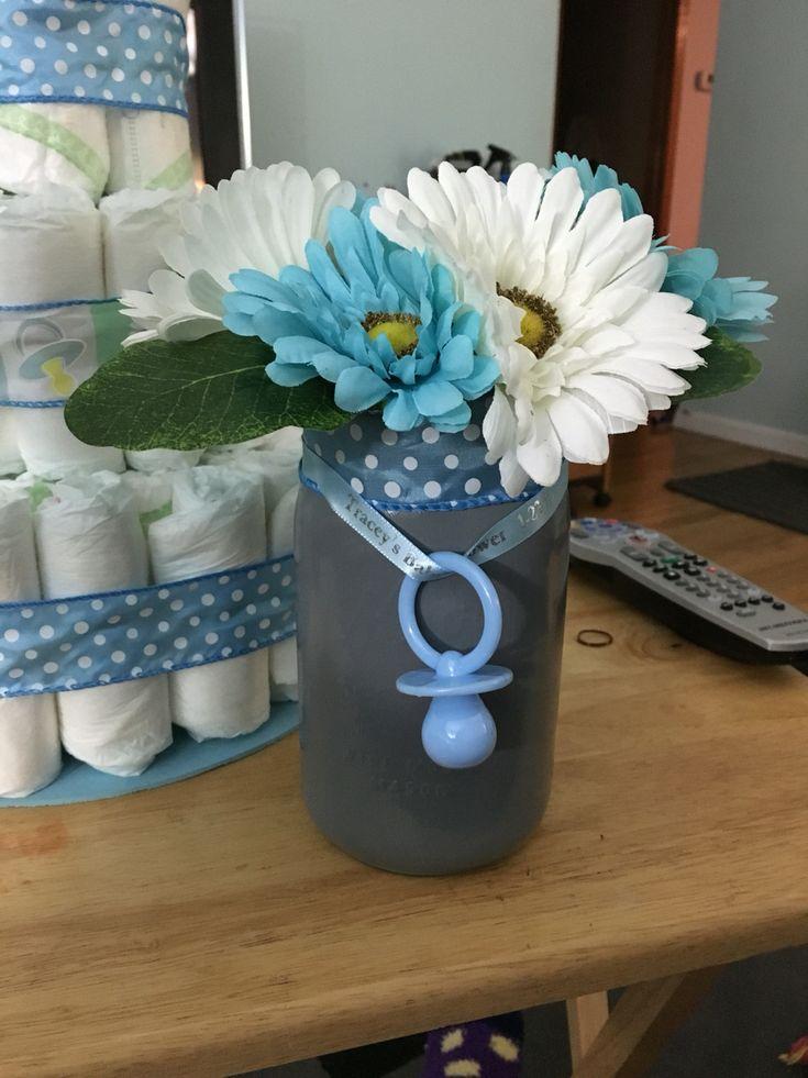 Finished mason jar centerpiece for boy baby shower  My