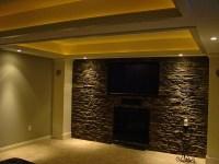Basement I finished . Faux stone wall  | Pinteres