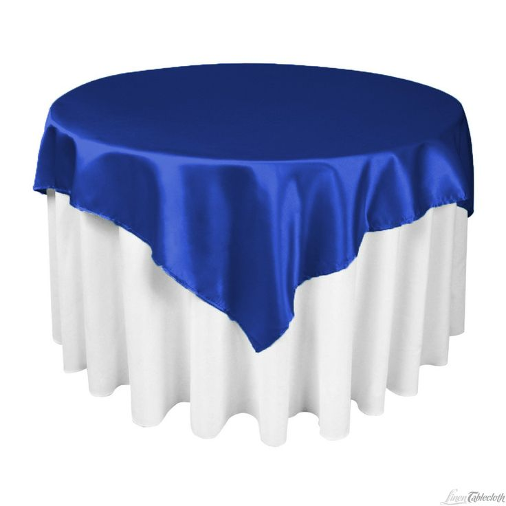 60 in Square Satin Overlay Royal Blue  Satin Blue satin