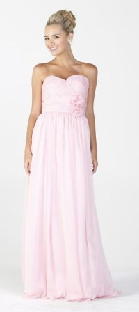 Long Flowy Chiffon Bridesmaid Dress Baby Pink Strapless ...