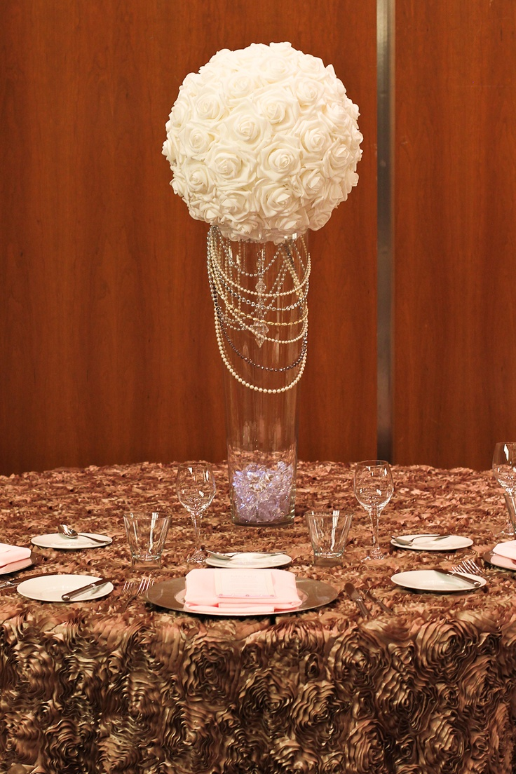 Mocha rosette table cloth Tall rose ball centerpiece with
