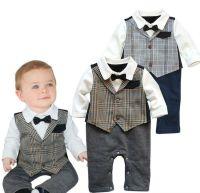 Details about Baby Boy Wedding Check Tuxedo Suit Bowtie ...