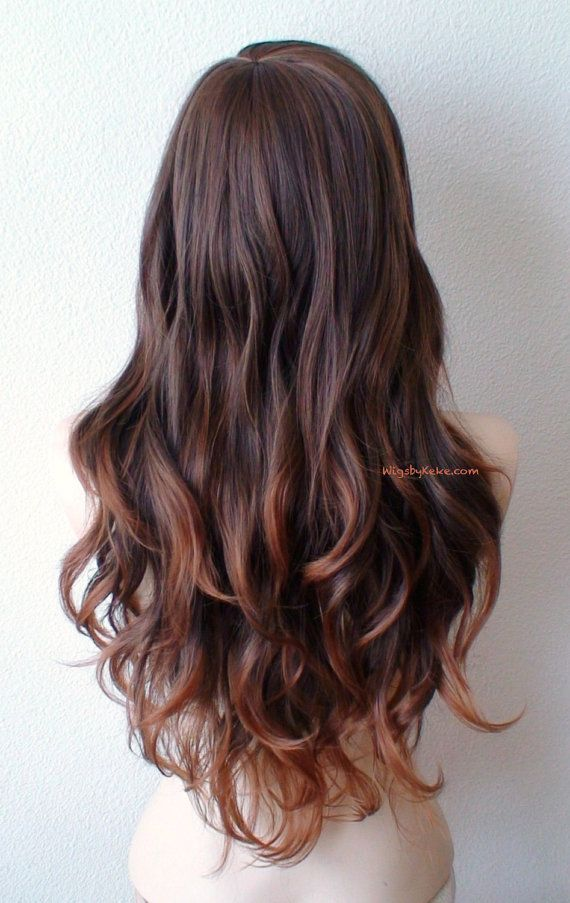 Brown Auburn Ombre Wig Long Curly Hair Long Side By