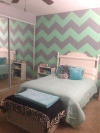 Mint green & gray chevron walls