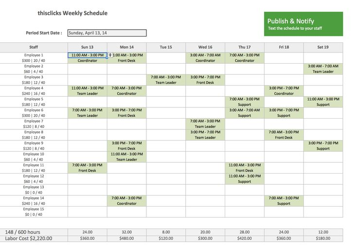 Free Excel Template for Employee Scheduling  When I Work  Projects to Try  Pinterest  Labor