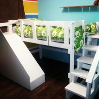 Loft bed with stairs and slide that my husband made for ...