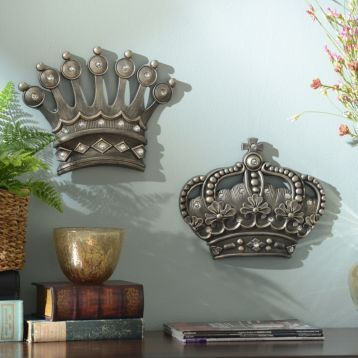 HisHer Crown Silver Jeweled Wall Plaque Set of 2 Item