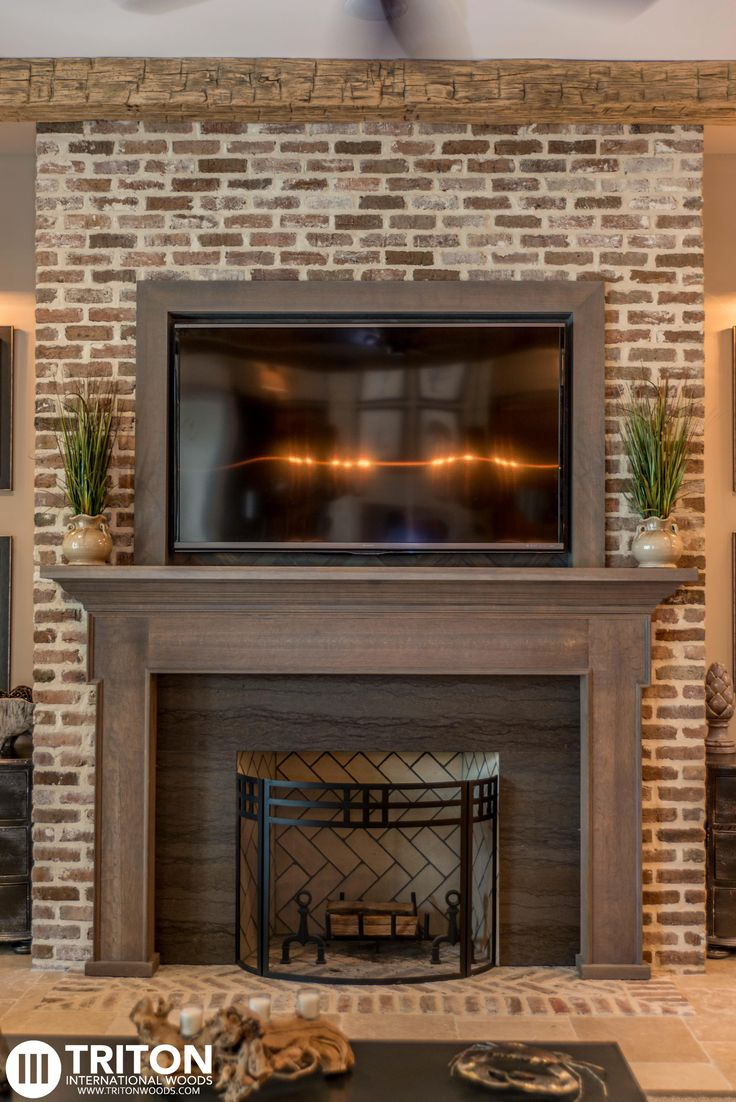 Best Stain For Fireplace Mantel Reclaimed Brick: Fireplace Also Provided: Reclaimed Beams