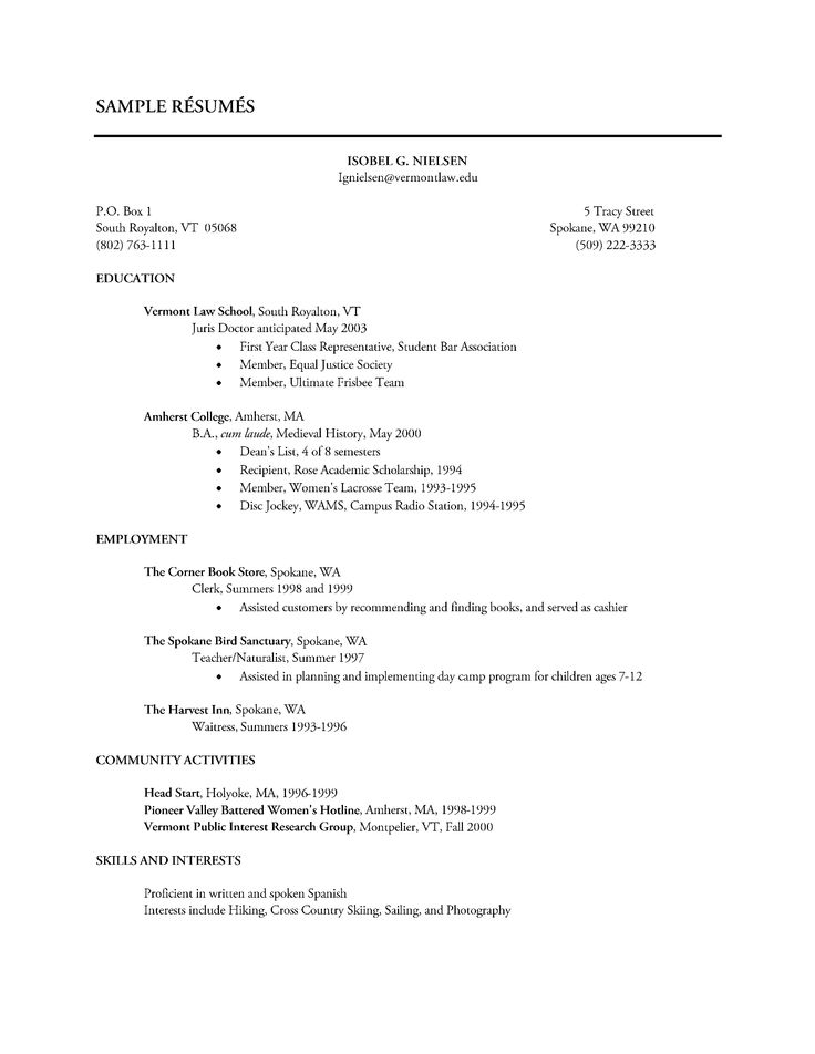 Sample Resume Showing Volunteer Work Resume Sample