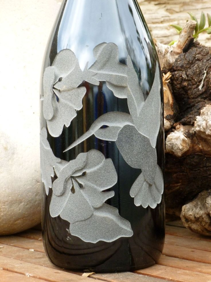 Hummingbird Design Is Carved Sandblasted Onto Empty Wine