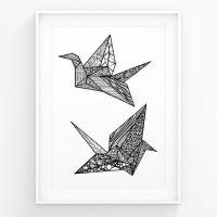 modern wall art origami crane black white art by futska on ...
