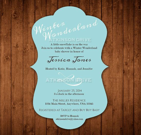 Printable Winter Wonderland Baby Shower Invitation  Party