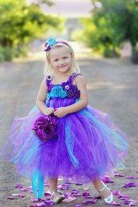 Peacock Purple and Turquoise Flower Girl Tutu Dress ...