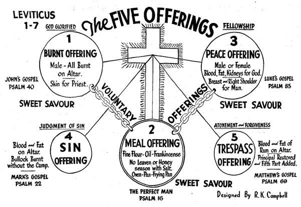 The Five Offerings Of Leviticus 1-7: Chart And Breif
