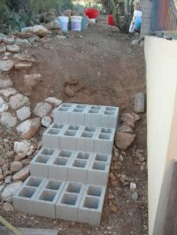 Dirt, rocks, stairs | The o'jays, Cinder blocks and Stairs