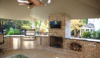 lanai with built in grill fireplace | Outdoor Fireplace ...