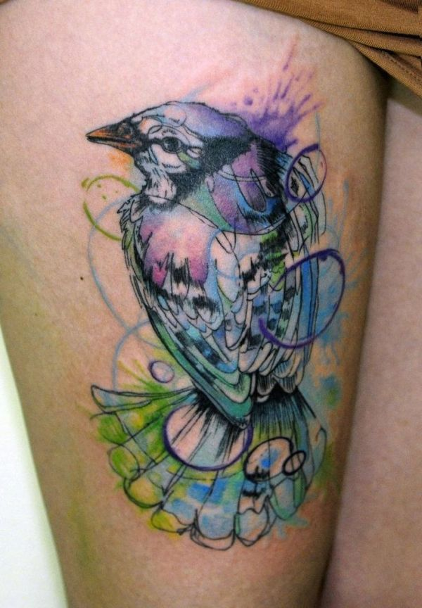 nature water color tattoo of