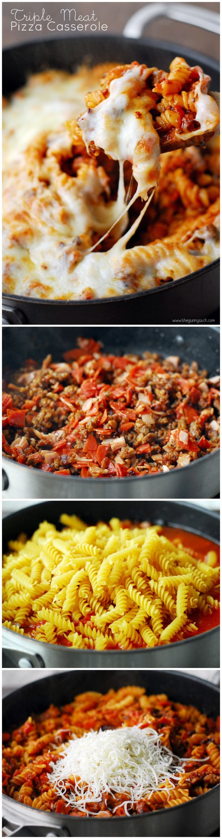 Triple Meat Pizza Casserole
