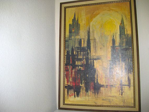 Mid Century Lithograph Print  DAYBREAK  CITYSCAPE