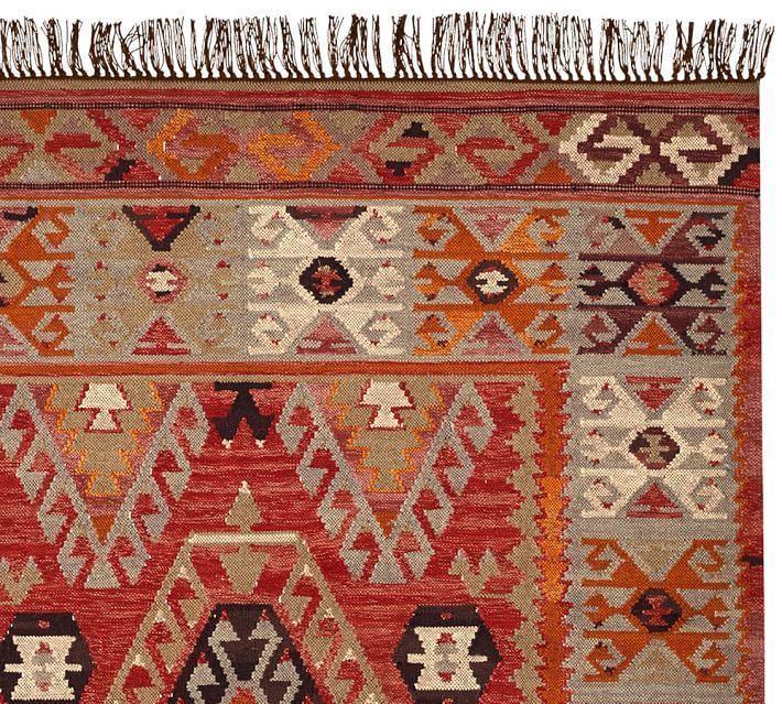 Pottery Barn Cyndy Kilim Rug 8 x 10 New Indoor Outdoor Feels Like Wool handwoven  Wool Indoor