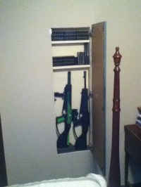 Hidden gun cabinet open..   DIY hidden gun storage ...