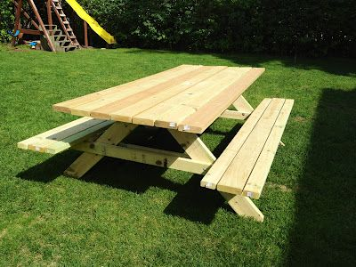 DIY picnic table – only 45 degree angles to cut and great for a first timer!