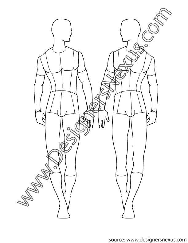 Adobe Illustrator Male Fashion Croqui Template V1 Front
