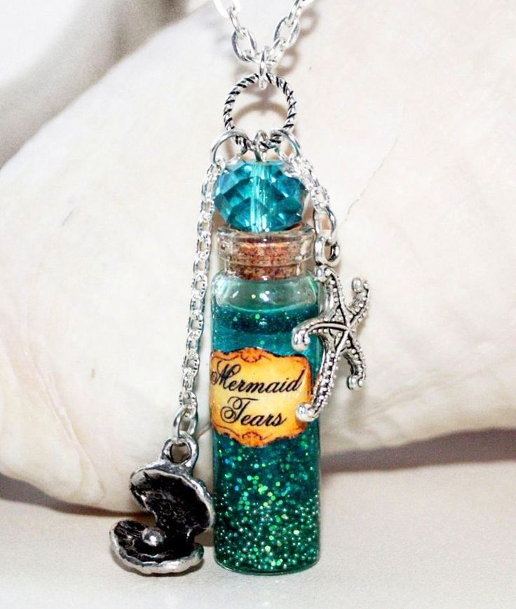 Mermaid Tears in Glass Bottle Potion Necklace with