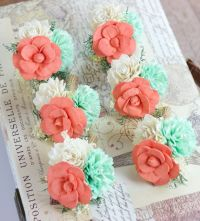 Wedding flowers, Pin Corsage, Mint, Coral, Ivory Mother ...