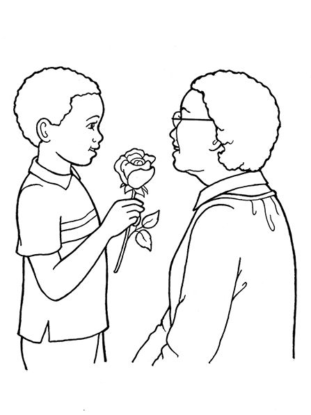 An illustration of a boy giving a rose to an older woman