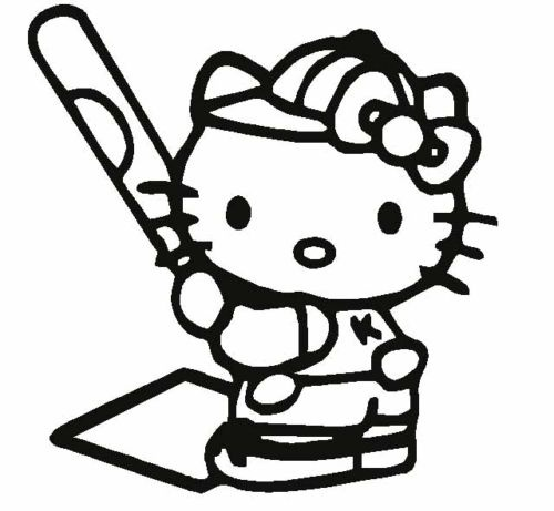 Details about Hello Kitty Softball Baseball Car Decal