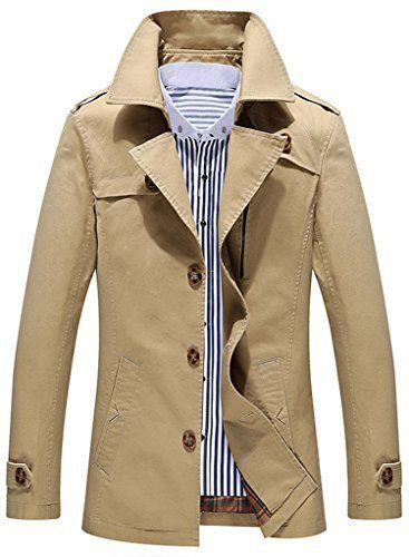 sawadikaa veste blousons manches longues tranchee coton coupe vent homme kaki clair x large