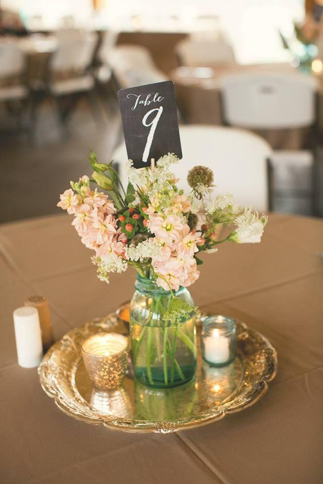 DIY Centro de mesa sencillo econmico para boda Bodas