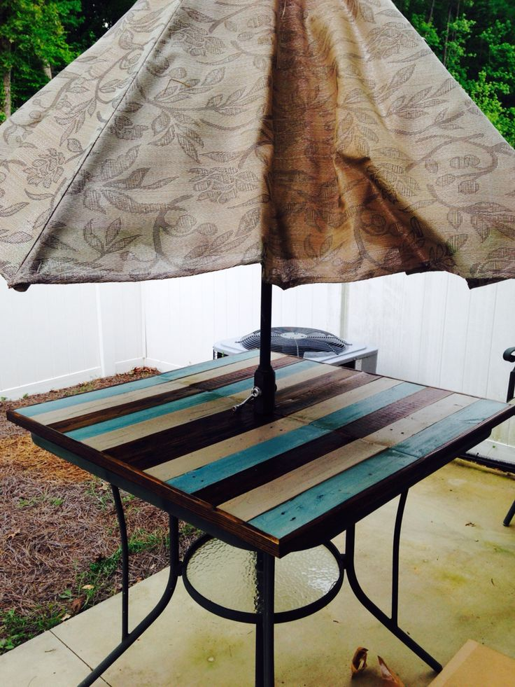 Shattered Glass Patio Table Fixed With Ply Board And Some