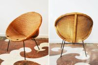 This mid-century rattan chair with a wrought-iron frame ...
