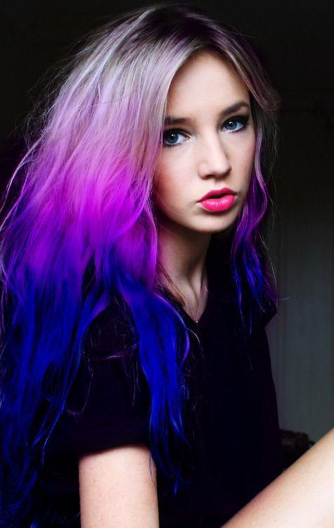 Beautiful Purple And Blue Dip Dyed Hair Purple Hair Hair