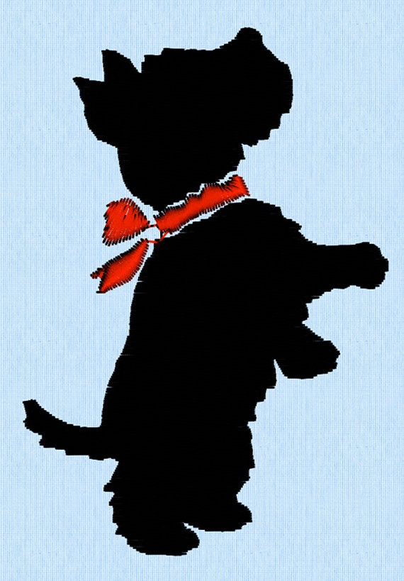 Scottish Terrier Dog Standing Or Begging With Neck Bow