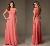 Modest Designer Coral Lace Bridesmaid Formal Dresses 2016 ...