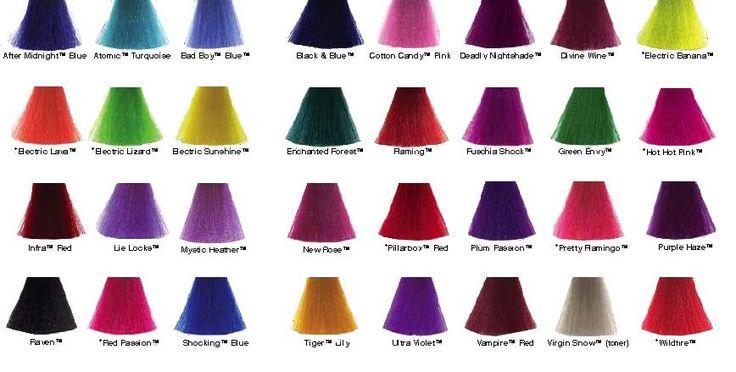 Manic Panic Hair Color Chart Hair Dye Swatches