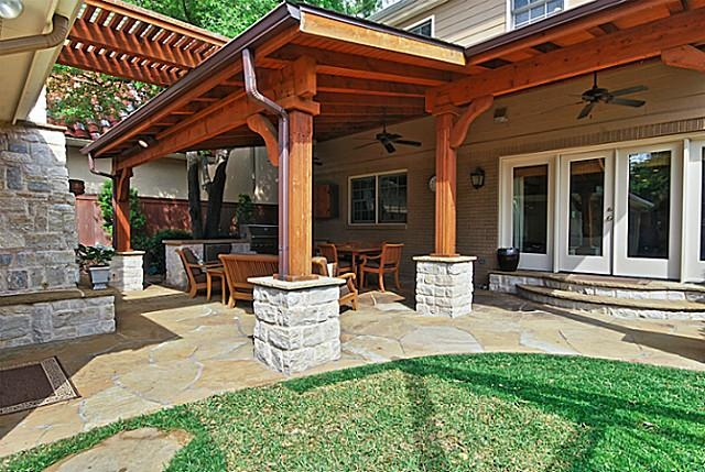 Slanted roofceiling  columns  steps  Patios  Decks  Pinterest  Columns Patio and Covered