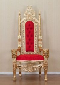 Gold Lion King Throne Chair Red Upholstery