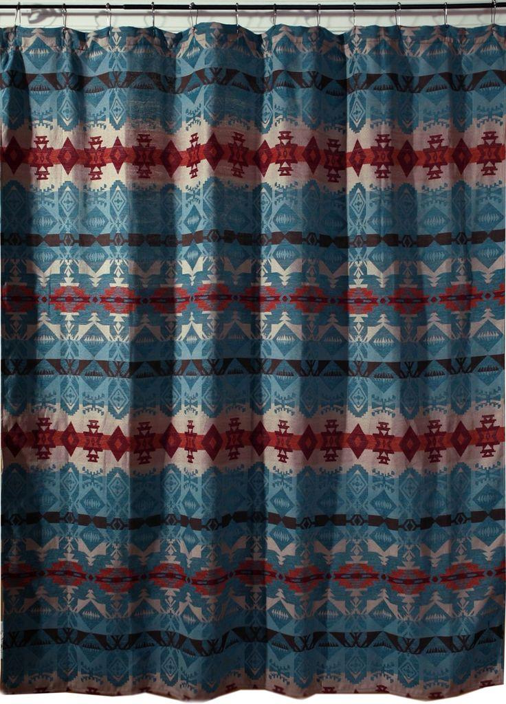 Turquoise Chamarro Southwest Fabric Shower Curtain JB2085