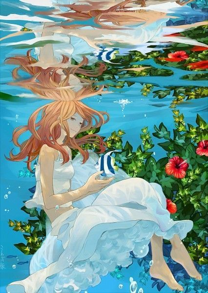 ANIME ART animal anime girl with animal fish