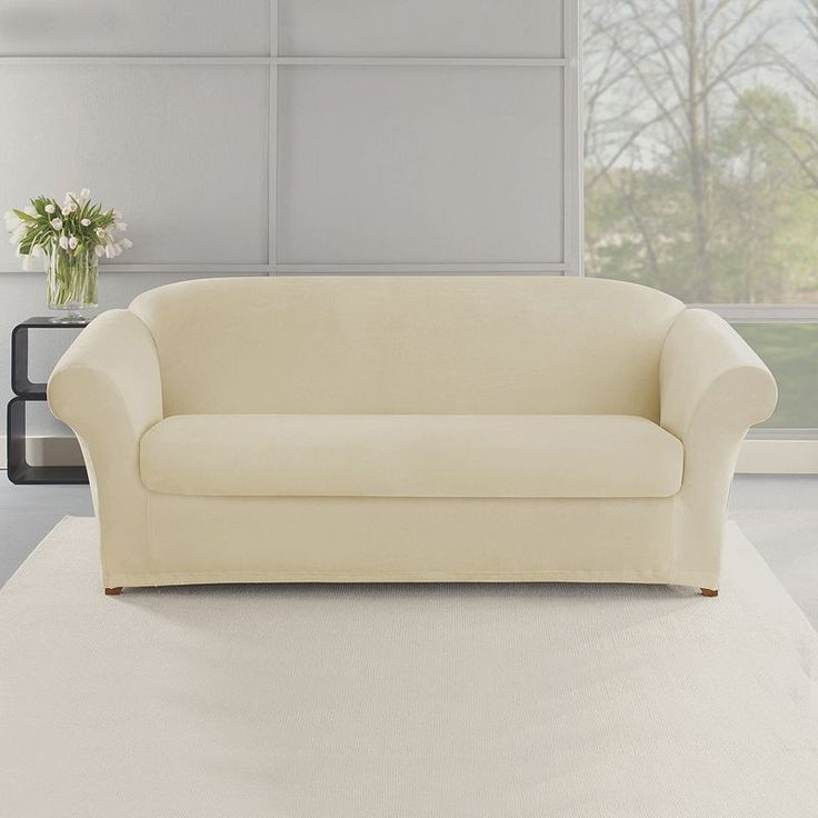 sure fit stretch plush 2 piece t sofa slipcover ara futon bed with storage 15 must-see slipcovers pins | covers, ...