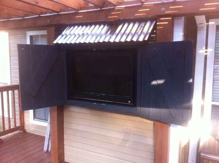 Open View Of Tv Cabinet On Pergola Deck Outdoor Tv